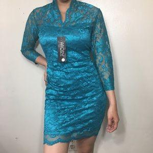 BLUE COLOR LACE DRESS SZ L